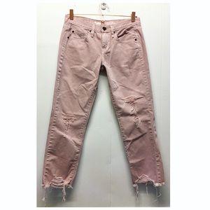 Mossimo | Light Pink Distress Boyfriend Crop Jeans